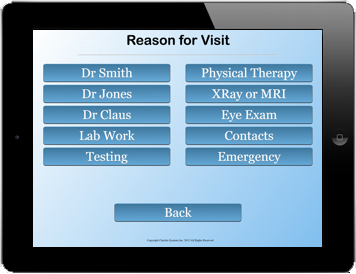 Medical Check In screen 2 asks for the patients reason for visit