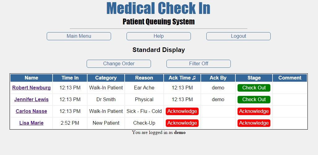 Medical Check In Standard display screen